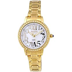 NOVATTI Womens Analogue Watch Roman Number Dial Japan Movement Miyota Gold Color Metal Case and Band With Crystals on The Case