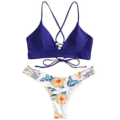 ZAFUL Damen Floral Leaf Lace Up Geflochtener Floral Bikini Set Zweiteiliger Badeanzug (M, BLAU) Floral Leaf