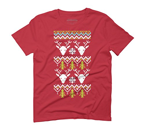 deer head christmas Men's Graphic T-Shirt - Design By Humans Red