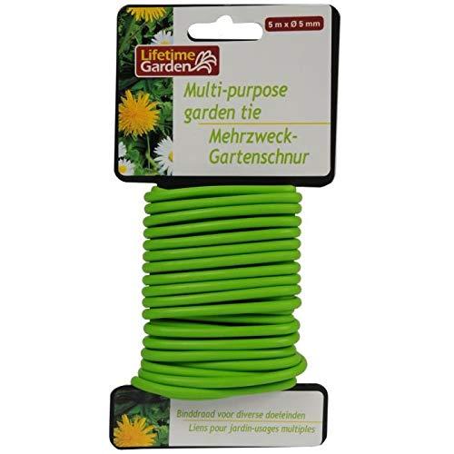 Lifetime Garden 86602 Liens pour Jardin 5 mètres 5mm, Vert, 10x3x20 cm
