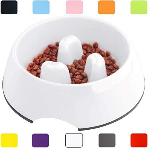 DDOXX Fressnapf Anti-Schling-Napf | für kleine & große Hunde Katzen Welpen | Futternapf langsam Essen fressen | Katzennapf Katze klein | Hundenapf Hund groß rutschfest | Weiß, 140 ml
