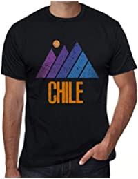 One in the City Hombre Camiseta Vintage T-Shirt Gráfico Mountain Chile Negro Profundo