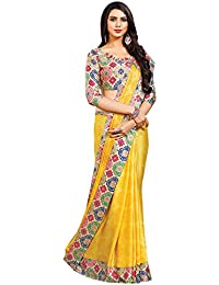 Designer Casual Wear Yellow Printed Satin Saree By Takshaya