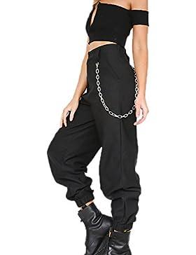 Nuovi pantaloni da donna di moda, pantaloni a gamba larga di colore puro gamba larga pantaloni harem con catena