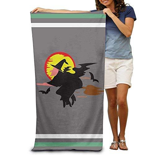xcvgcxcvasda Halloween Wizard with A Fly Broom Adults Cotton Beach Towel 31 X 51-Inch Quick Dry