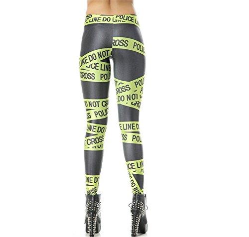 Bestland Damen Legging Tattoo Leggins Sterne Print Style Comic Elastische Stretch Strumpfhose Hüfthose Skinny Hose Enge #31