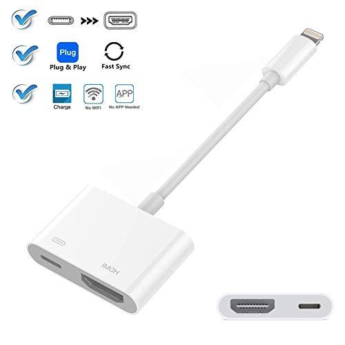 Telefon zu HDMI, Kompatibel mit iPad iPhone zu HDMI-Adapterkabel, Digitaler AV-Adapter, Kompatibel mit iPhone XS/XSmax/XR/X / 8/7/6 / Plus iPad iPod zu TV (White) - Digital-av-adapter