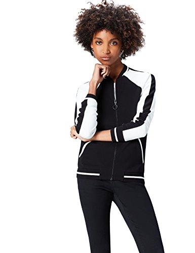 FIND Jacke Damen mit Retro Design und Colour Blocking, Schwarz (Black/ivory), 34 (Herstellergröße: X-Small)