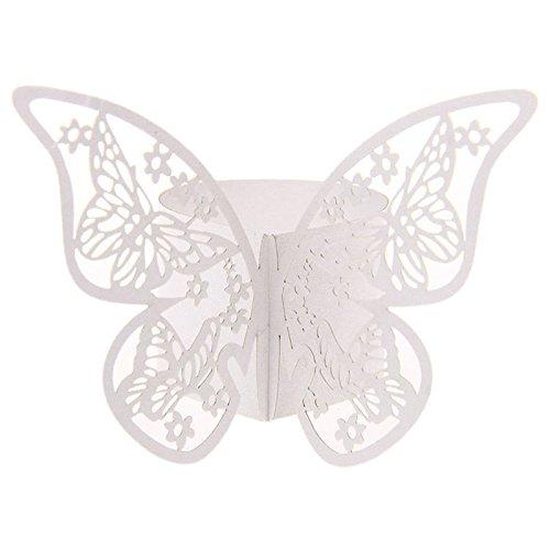 ringe Hochzeitsfeier Tischdekoration Papierservietten Papier Stoffservietten Ring Schmetterling Weiß ()