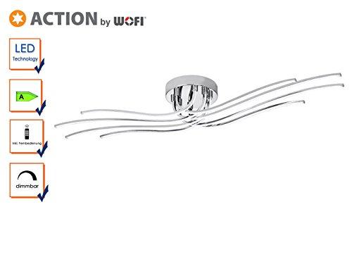 Dimmbare LED Deckenleuchte MARO mit Fernbedienung, Länge 118cm, Design Chrom, Action by Wofi