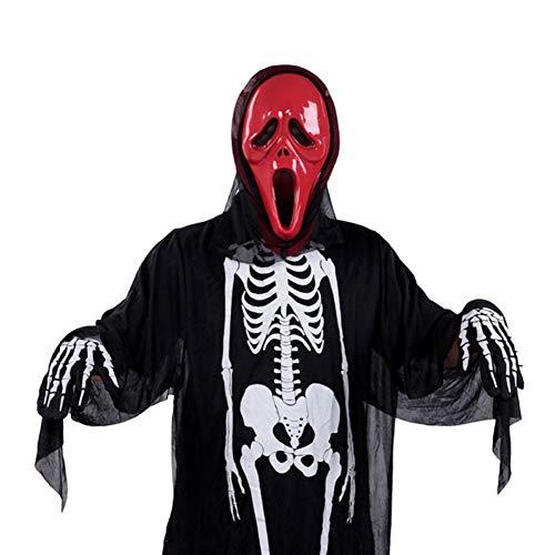 Paare Scary Kostüm - Mens Skeleton Skull gedruckt Halloween-Kostüm mit