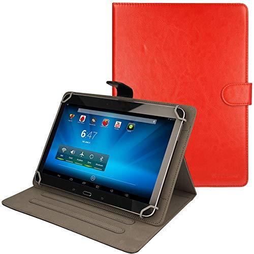 TECHGEAR® [Stellar (10)] Étui Universel pour Tablettes Lenovo A10 10.1 Pouces - Housse de Protection avec Stand de Visualisation (ROUGE)