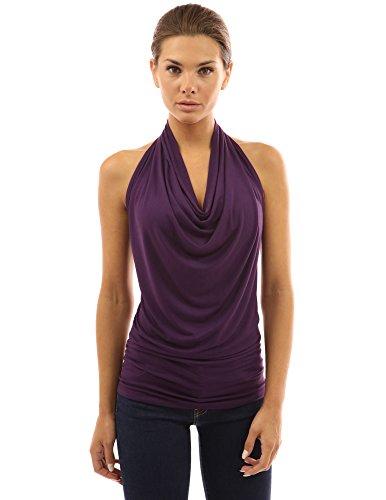 PattyBoutik femmes top à licou drapé violet foncé