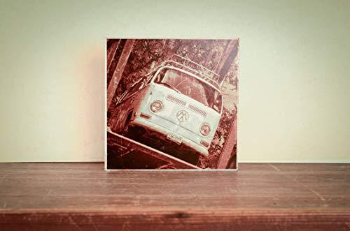 Oldtimer Bus Foto auf Holz, im Quadrat, 12 x 12 cm handmade Geschenk für ihn, Wanddeko, Geschenkidee, Geschen für ihn