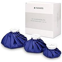 Navaris Borsa ghiaccio acqua calda - Set di 3 sacchetti per ghiaccio in tessuto in misure diverse per dare sollievo dolore riutilizzabili - blu