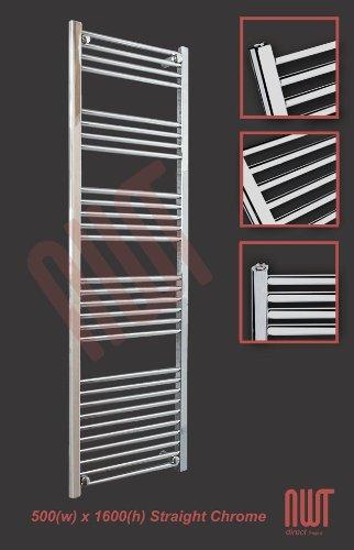 500mm(w) x 1600mm(h) Straight Chrome Heated Towel Rail, Radiator, Warmer 2761 BTUs Bathroom Central Heating Ladder Rail (Bar Pattern: Bar Pattern: 4-5-6-11)