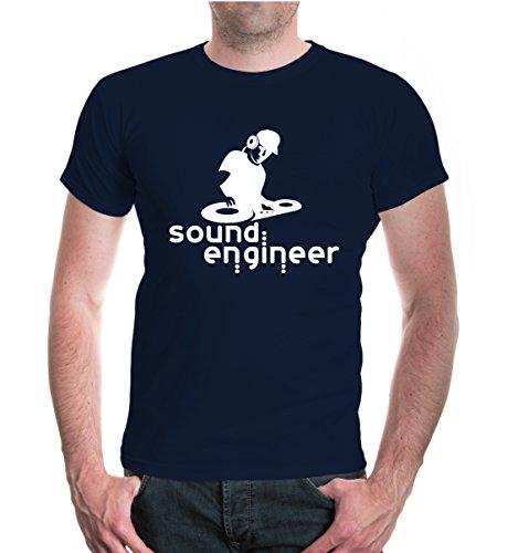 buXsbaum® T-Shirt Sound Engineer Navy-White