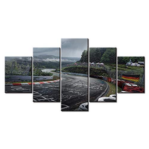 Swallow 5 Paneles Nurburgring Rally Road Impreso Lienzo