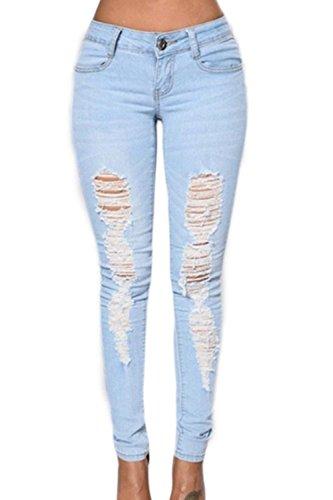 Jeggings primaverile estivi eleganti moda donna trousers ragazze giovane con tasche monocromo high waist lunga jeans strappati pantaloni vita alta grazioso outdoor trousers moda modern stile