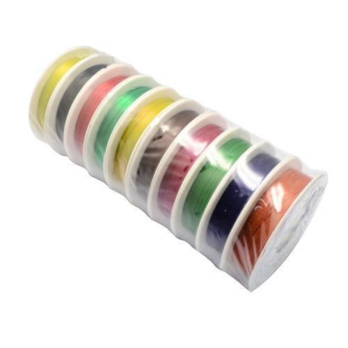 Pandahall 10 x Filo Gioielli Cavo di Ferro, Colore Misto, 0.3mm, circa 20m/ roll, 10rolls/ set