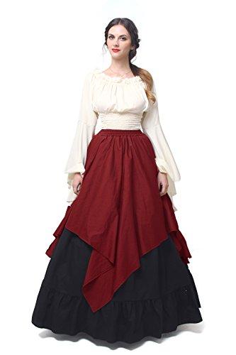NSPSTT Damen medieval viktorianischen kostüm-kleid renaissance asymmetrische kostüme XX-Groß (Renaissance Damen Zigeuner Kostüm)