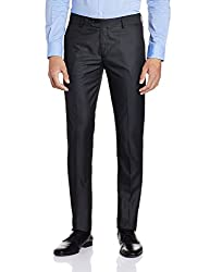 Peter England Mens Formal Trousers (8907411522393_PTF31602662_93_DarkGreywithBlack)