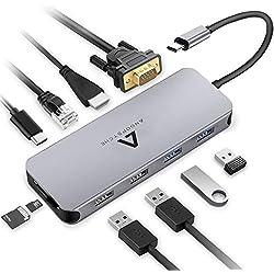 Anoopsyche Hub USB C 10-en-1, Aluminium, Adaptateur USB C Hub vers HDMI 4K, VGA, PD 100W, 4 Ports USB 3.0/2.0, Lecteur de Carte SD & Micro SD, RJ45, Dock USB C pour MacBook Pro et MacBook Air 2018