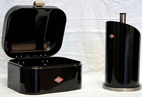Preisvergleich Produktbild Wesco Single Grandy Brotkasten + Küchenrollenhalter im Set, Farbe: schwarz