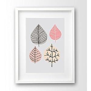 Kunstdruck ungerahmt A4, Blätter retro, rosa und grau Illustration Deko skandinavisch