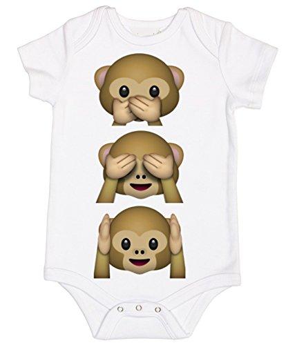 """Preisvergleich Produktbild Baby Body """"Nichts-Böses-Sagen-Sehen-Hören Affen Hoch"""" Gr. 62/68 - Atmungsaktiv für Jungen und Mädchen - Babybody, Strampler, Emoji, Smiley"""