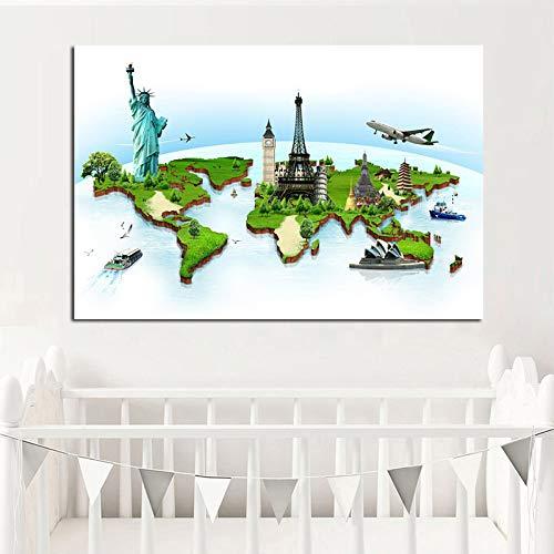 Flugzeug Berühmte Gebäude Globus Weltkarte Leinwand Malerei Nordic Poster Und Print Minimalistischen Wandbild Für Wohnzimmer Kinderzimmer 20x30 cm kein rahmen Grün