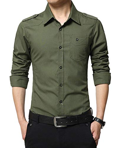 Uomo camicie maniche lunghe vestibilità slim tinta unita affari tempo libero occasione formale camicia verde militare m