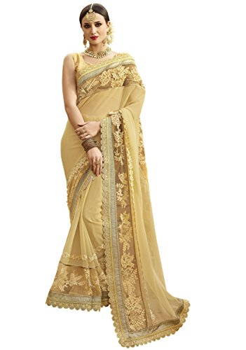 Women'S Beige Color Georgette Embroidered Woven Saree