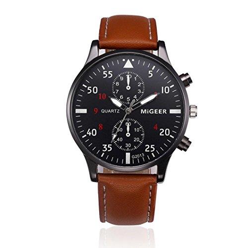 Longra Reloj de moda, Aleación de correa de diseño retro analógico Shi Ying reloj de los hombres (marrón)