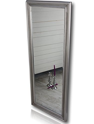 elbmöbel 150x60cm Spiegel silber antik mit Patina rechteckig handgefertigt barock mit Holz-Rahmen und Wandbefestigung im Landhausstil (Rahmen Spiegel Mit)