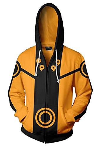 Kostüm Gelbe Jacke - Manfis Herren Naruto Uzumaki Cosplay Kostüm Sasuke Sharingan Hoodie Sweatshirt Jacke Gelb