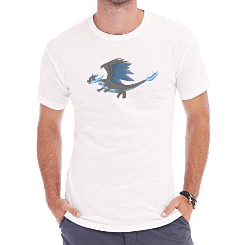 Pokemon Charizard Dragon Fire Flying Left Herren T-Shirt Weiß