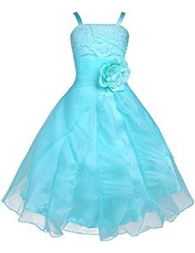 FEESHOW Mädchen Kleider Festlich Langes Blumenmädchenkleid mit Spaghetti Träger für Party Hochzeit Gr. 92-164