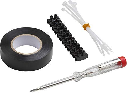 Meister 7458410 Assortiment d'installation 13 pièces avec testeur de tension, barre de serrage, ruban isolant et serre-câble pour raccordement de lampes et prises de rénovation/testeur de phase