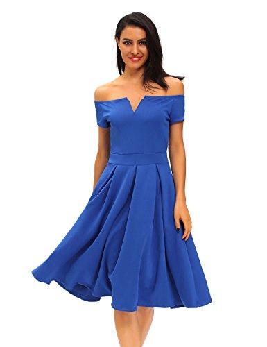 Pinkyee Damen Cocktail Kleid Blau