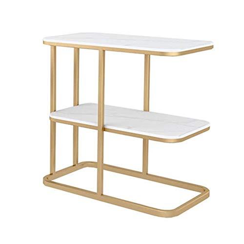 Ynn tavolino da salotto in marmo tavolino da salotto in ferro battuto tavolino da salotto con 2 ripiani (colore : bianca)