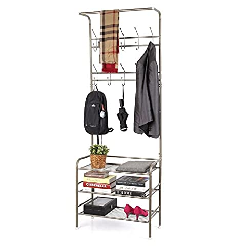 HOMFA Heavy Duty Hat Clothes Bags Coat Rack Rail Organiser Shoes Shelf Stand with 20 Hanging Hooks (190 x 34 x 68.5cm, Champagne)