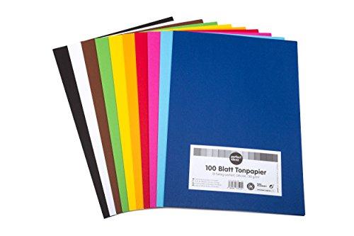 perfect ideaz 100 Blatt buntes A4 Ton-Papier, Tonzeichen-Papier, durchgefärbt, 10 verschiedenen...