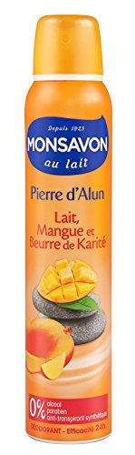 Monsavon Déodorant Femme Spray Pierre d'Alun Mangue & Karité 200ml - Lot de 2