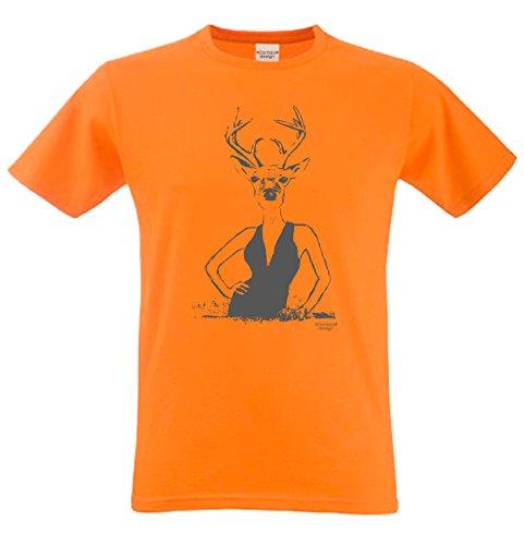 Hirschlady Fun-Motiv-T-Shirt Hirsch Rehbock Geweih Hörner Wild Volksfest Trachtenshirt Tolles Geschenk für Herren Männer Farbe: orange Orange