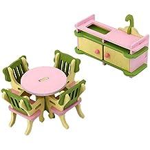 Set Muebles de Comedor Cocina Miniatura Madera Decoración para Casa de Muñecas