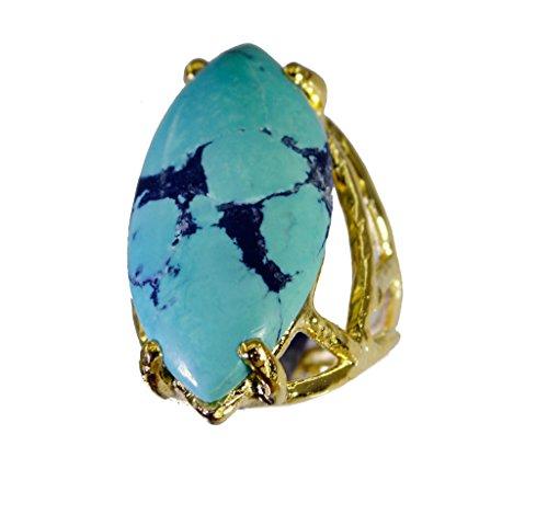 appariscente turchese di rame anello di pietra preziosa del turchese l-1in (Rame Pietra Preziosa Del Turchese)