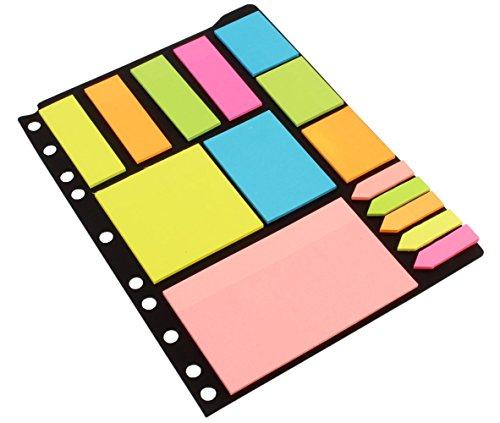 Kabeer Art Sticky Notes & Page Markers Binder Pack, 250 Assorted Size...