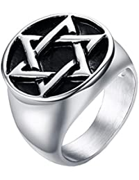 UMtrade Punk Hombres Acero inoxidable Hexagrama Estrella de David Sello Biker Anillos Negro Plata