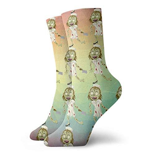 Neuheit lustige verrückte Crew Socke Cartoon Zombie Krankenschwester 3D gedruckt Sport athletische Socken 30cm